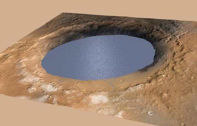 Una ricostruzione di come si sarebbe mostrato il cratere Gale circa 3,5 miliardi di anni fa.|NASA