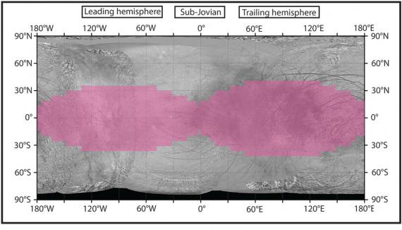 In rosa la distribuzione delle radiazioni sulla superficie di Europa.   Nasa