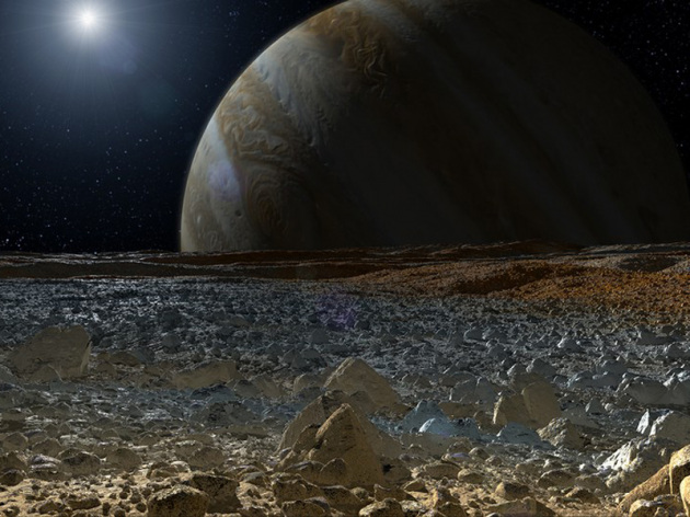 Illustrazione: questo potrebbe essere il panorama sulla superficie di Europa. Nasa