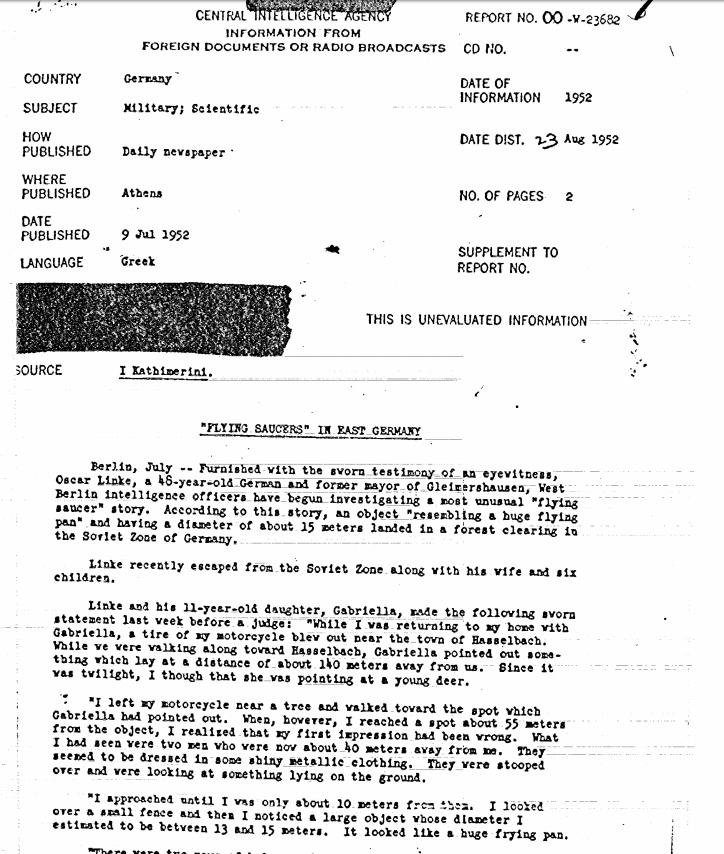 Il documento del racconto di un testimone tedesco autore di un incontro ravvicinato del terzo tipo. | CIA